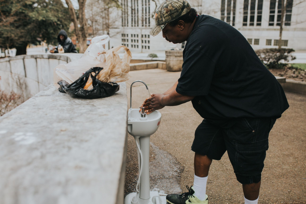 Portable sinks have been placed throughout Atlanta so that homeless people could wash their hands. (Courtesy)