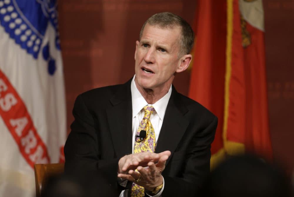 In this March 11, 2013, file photo retired U.S. Army Gen. Stanley McChrystal speaks during a forum at Harvard University. (Steven Senne/AP)