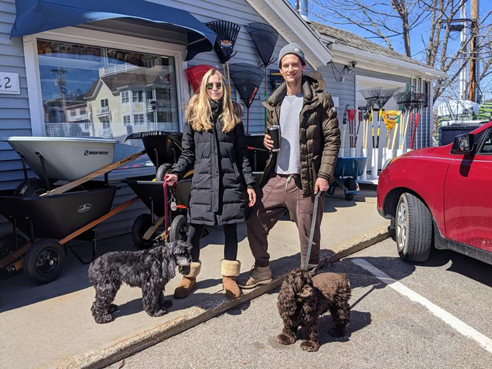 New Yorkers Lauren Gaudette and Garrett Neff left Manhattan three weeks ago to hunker down and avoid coronavirus in Gaudette's family lake house in Wolfeboro. (Annie Ropeik/NHPR)