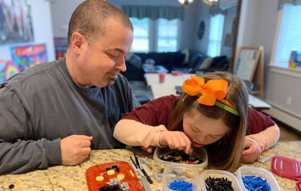 Moriah Winchell and her father Jason at play in their West Bridgewater home. (Courtesy Melissa Winchell)
