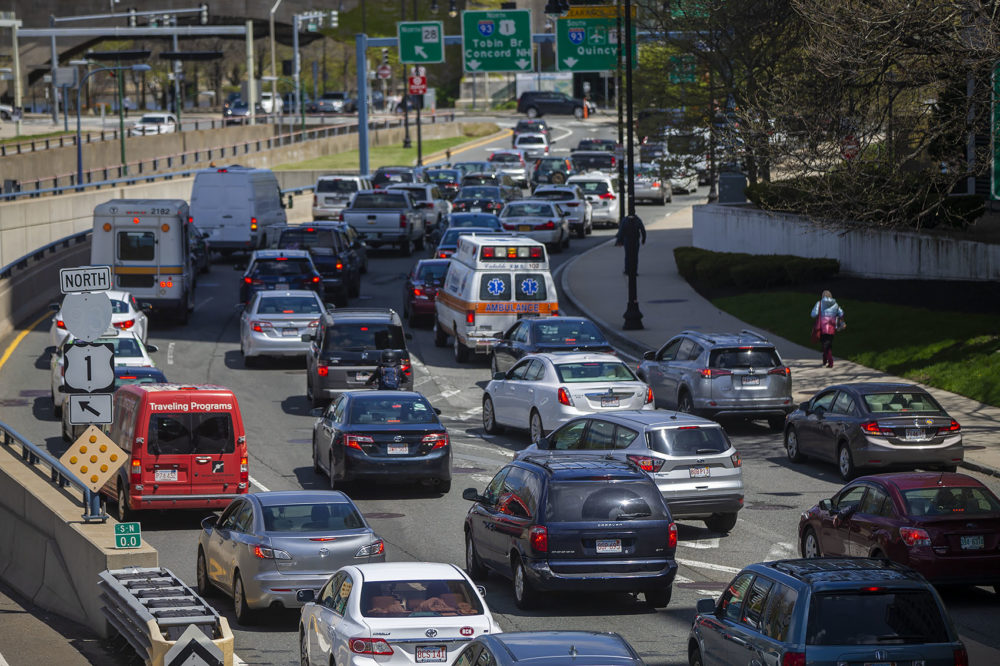About a year before the current pandemic, mid-day traffic on Storrow Drive last May. (Jesse Costa/WBUR)