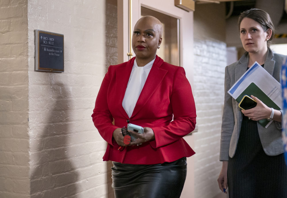 Rep. Ayanna Pressley, D-Mass., and other House Democrats arrive to meet with Speaker of the House Nancy Pelosi, D-Calif., on Capitol Hill in Washington on March 11. (J. Scott Applewhite/AP)