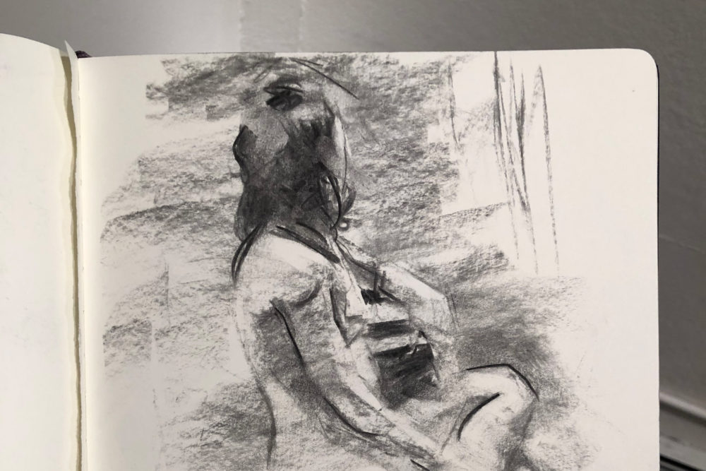 A charcoal sketch by artist Cameron McCool, who  organizes figure drawing sessions in Boston. (Courtesy Cameron McCool)