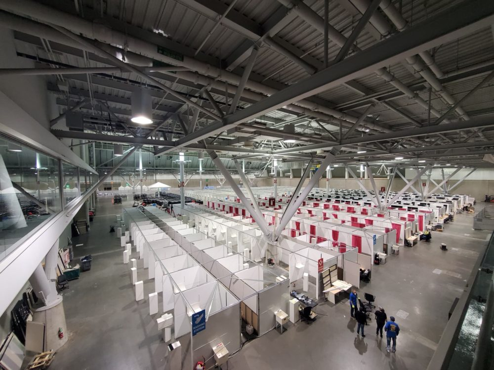Boston Hope, a 1,000-bed field hospital, being set up in the Boston Convention and Exposition Center (Courtesy Teamsters Local 25)