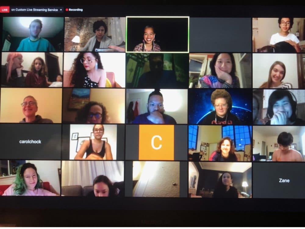 Participants in a virtual poetry open mic. (Cristela Guerra/WBUR)