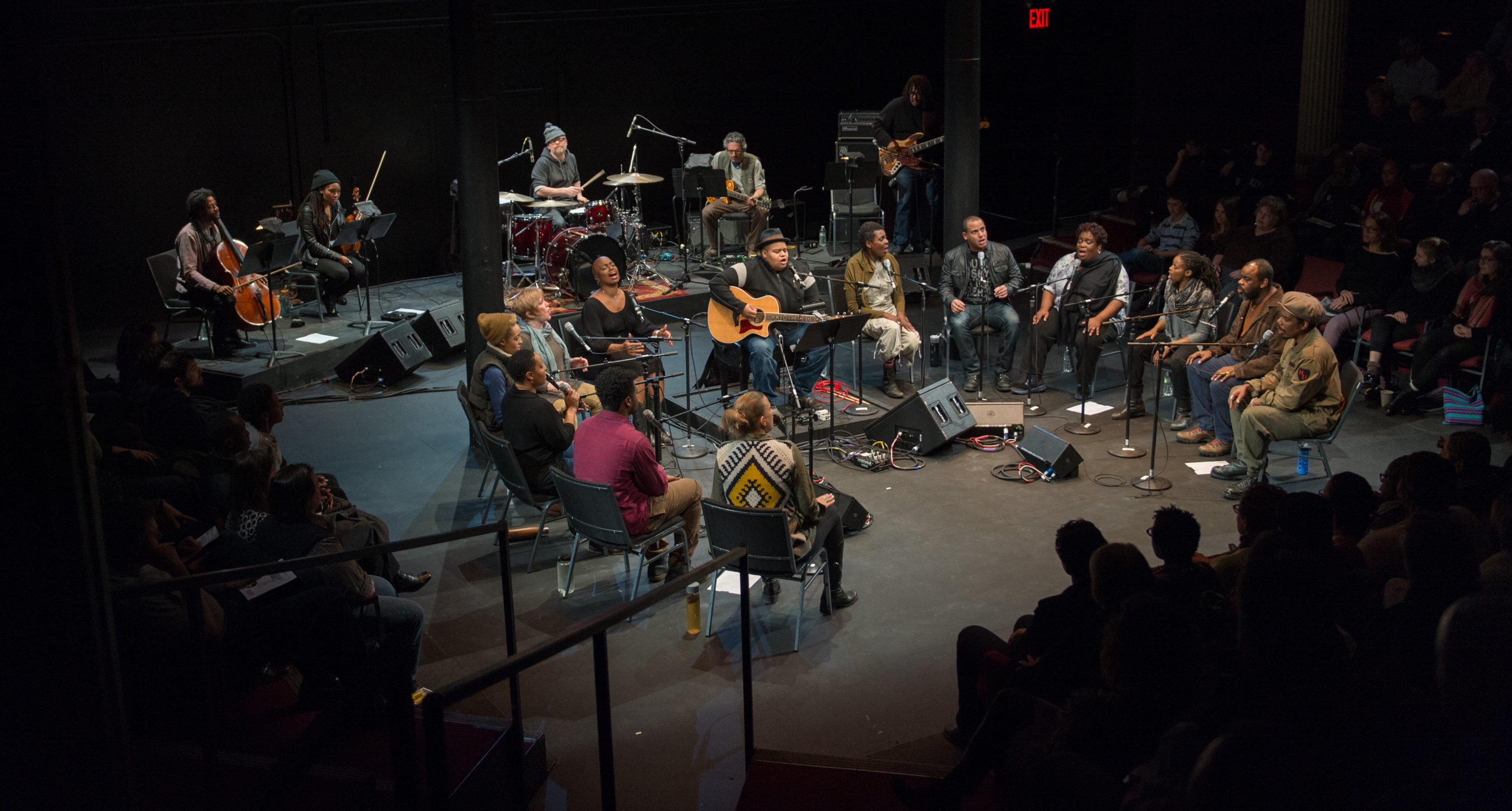 "Toshi Reagon and company  performing ""Octavia E. Butler's Parable of the Sower: A Concert Performance"" at ArtsEmerson in 2017. (Courtesy Kevin Yaratola)"