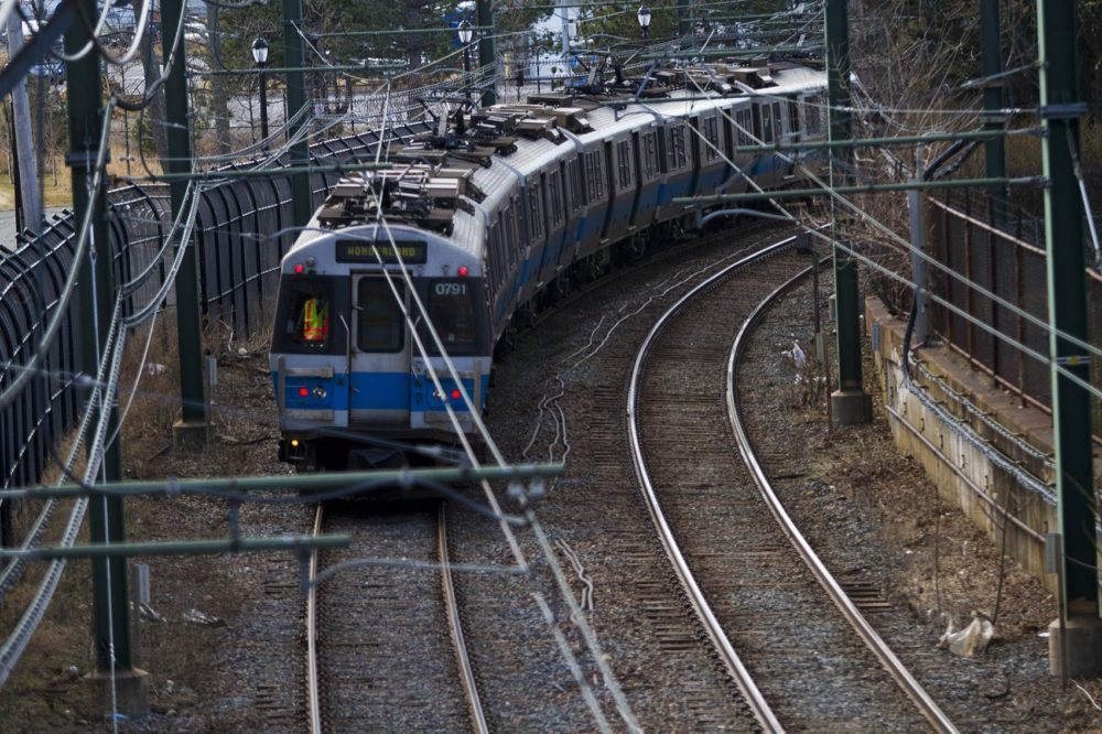 An outbound MBTA Blue Line train on its way to Orient Heights Station in East Boston. (Jesse Costa/WBUR)