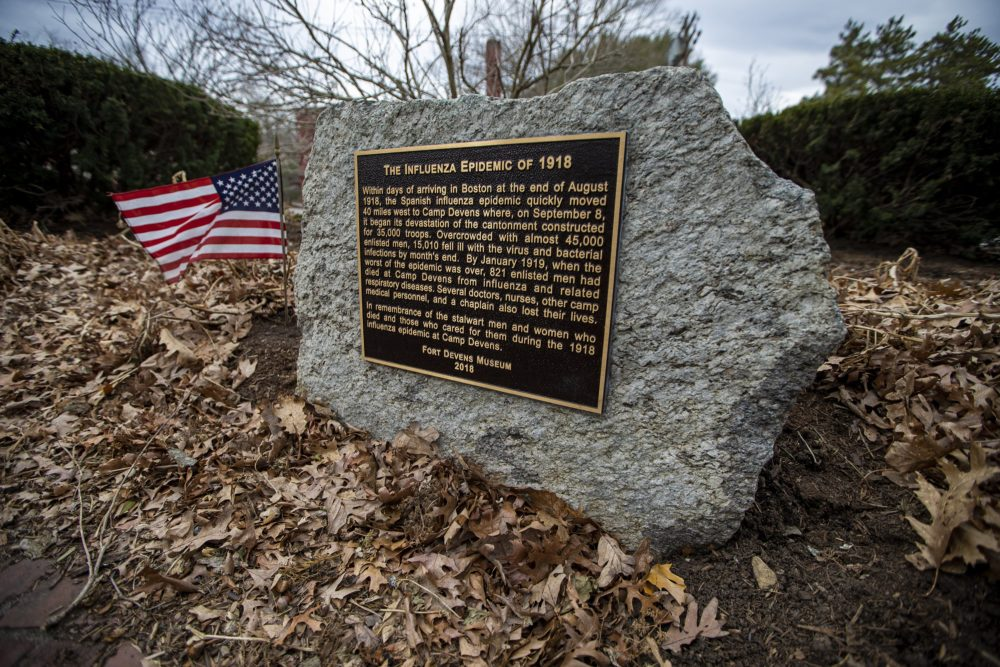 The second wave of the Spanish flu hit Boston particularly hard as America prepared for World War I. Here is a photo of the 1918 Flu Pandemic Memorial, located in nearby Rogers Field  in Devens. (Jesse Costa/WBUR)