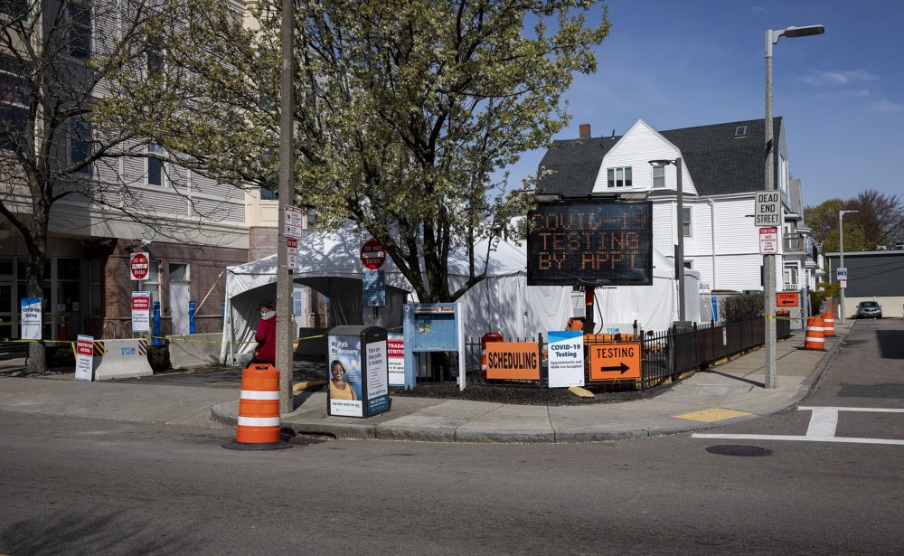 The drive-in and walk-in testing station at Bowdoin Street Health Center in Dorchester, Mass. (Robin Lubbock/WBUR)