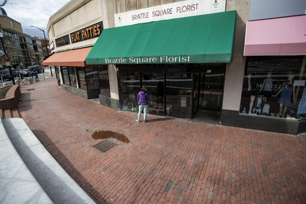 In a deserted Harvard Square, Brattle Square Florist remained closed prior to the governor's latest loosening of rules on non-essential businesses. (Jesse Costa/WBUR)