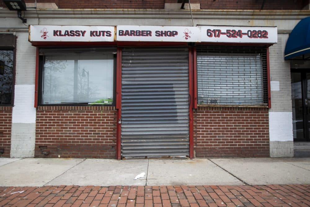 Klassy Kuts Barber Shop in Forest Hills. (Jesse Costa/WBUR)