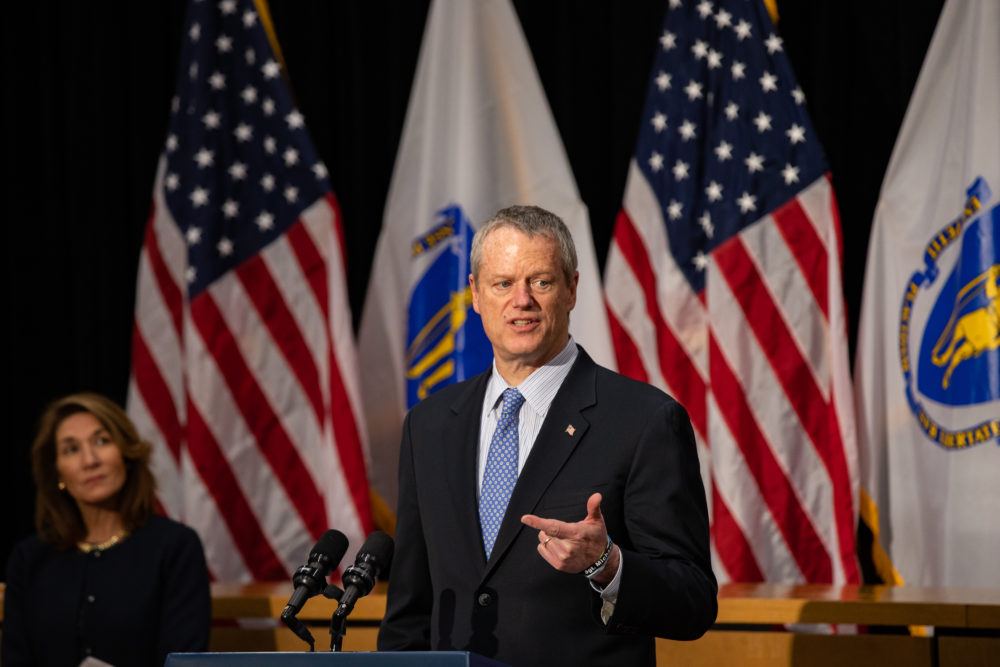 Lt. Gov. Karyn Polito watches as Massachusetts Gov. Charlie Baker addresses the media during one of his daily press conferences.(Chris Van Buskirk, SHNS)