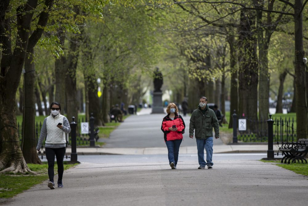 People walk along the Commonwealth Mall wearing masks. (Jesse Costa/WBUR)