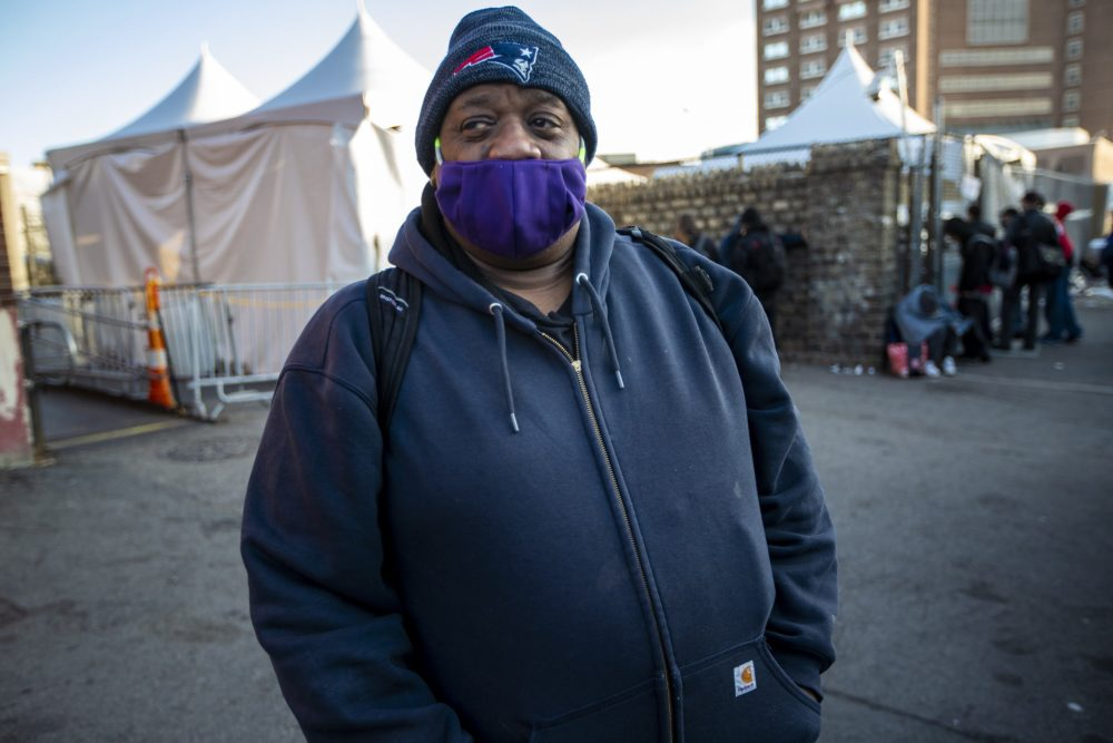 Dennis Watkins, 60, stays at Boston's Southampton Street shelter. He tested positive for the coronavirus a few weeks ago but never felt sick.(Jesse Costa/WBUR)