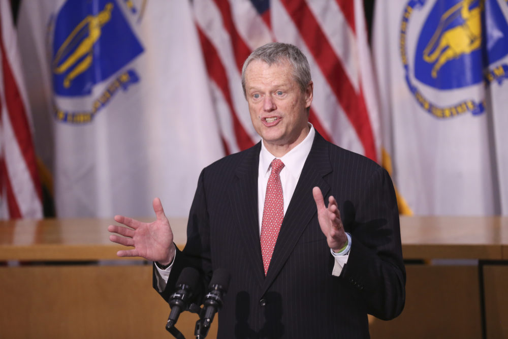 Gov. Charlie Baker speaks to the media on Friday at the State House.(Nicolaus Czarnecki/MediaNews Group/Boston Herald)