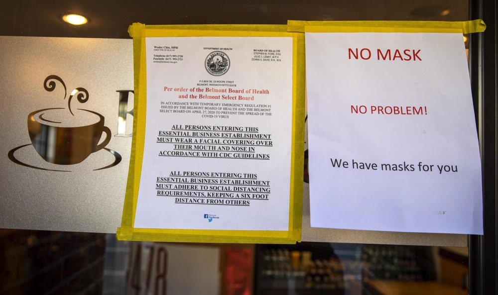 While some stores turn away customers who don't have a mask, the Belmont cafe's solution is to give them one. (Robin Lubbock/WBUR)