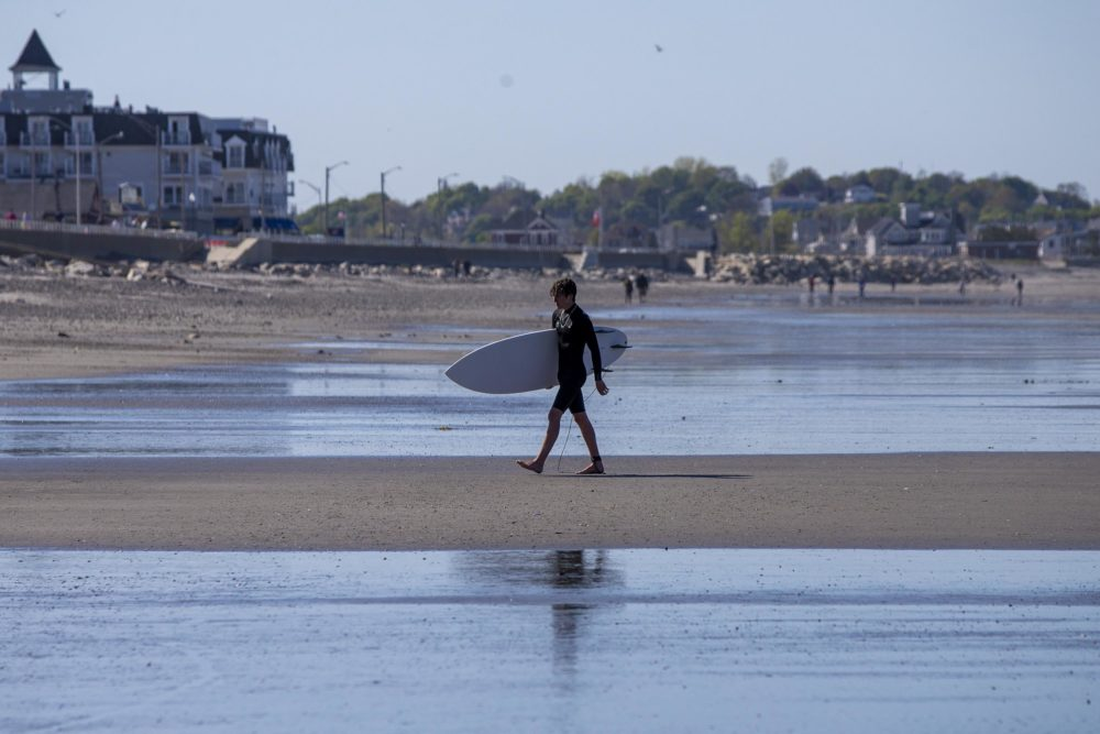 A surfer walks back to the beach on Nantasket Beach in Hull. (Jesse Costa/WBUR)