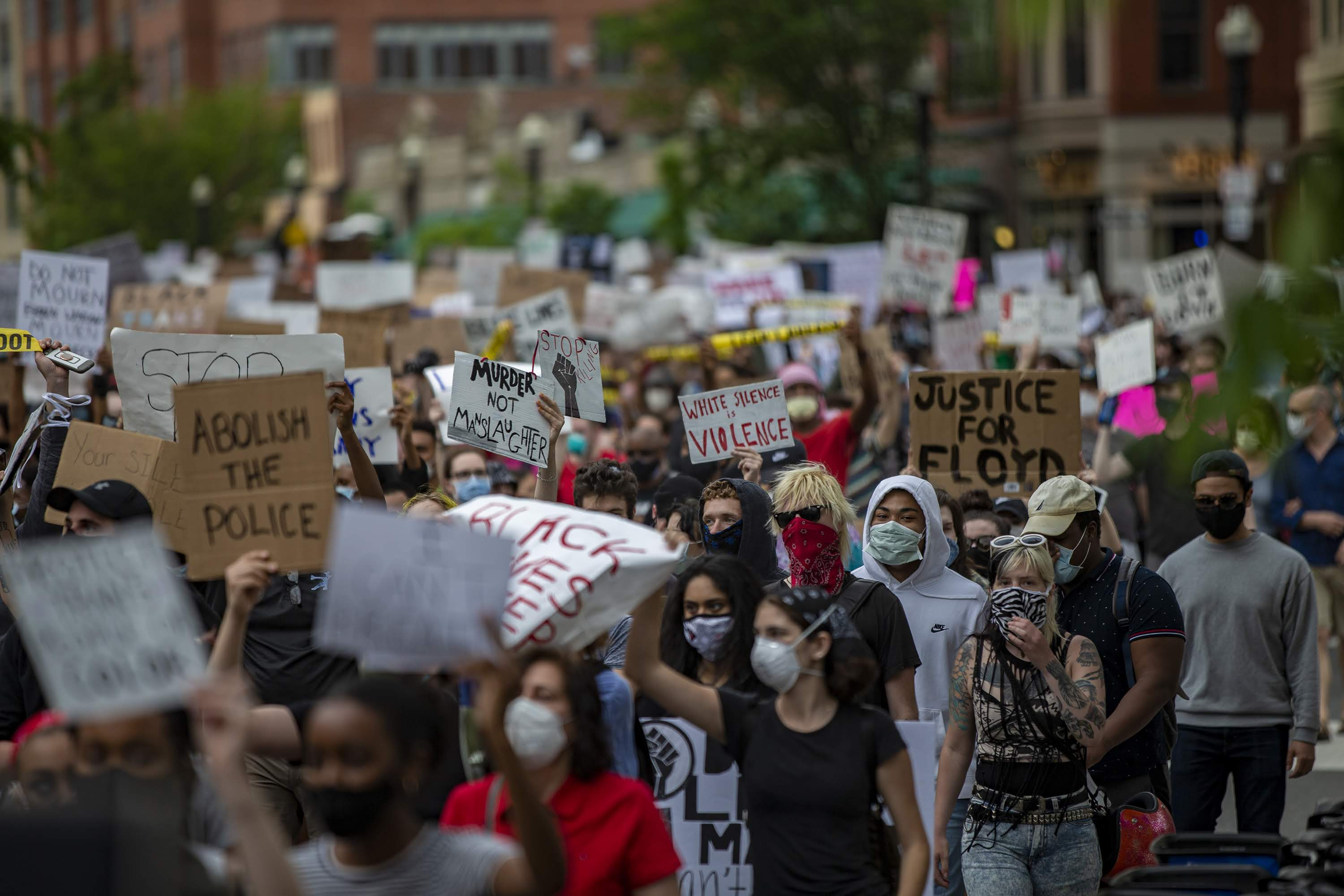 About a thousand protesters march down Washington Street in Boston in outrage over the killing of George Floyd, joining other protests nationwide. (Jesse Costa/WBUR