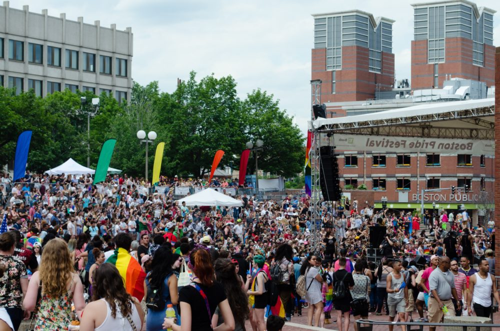 City Hall as people gather from the 2017 Boston Pride Parade (Elizabeth Gillis/WBUR)