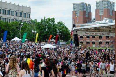 City Hall as people gather from the 2017 Boston Pride Parade (Elizabeth Gillis/WBUR)