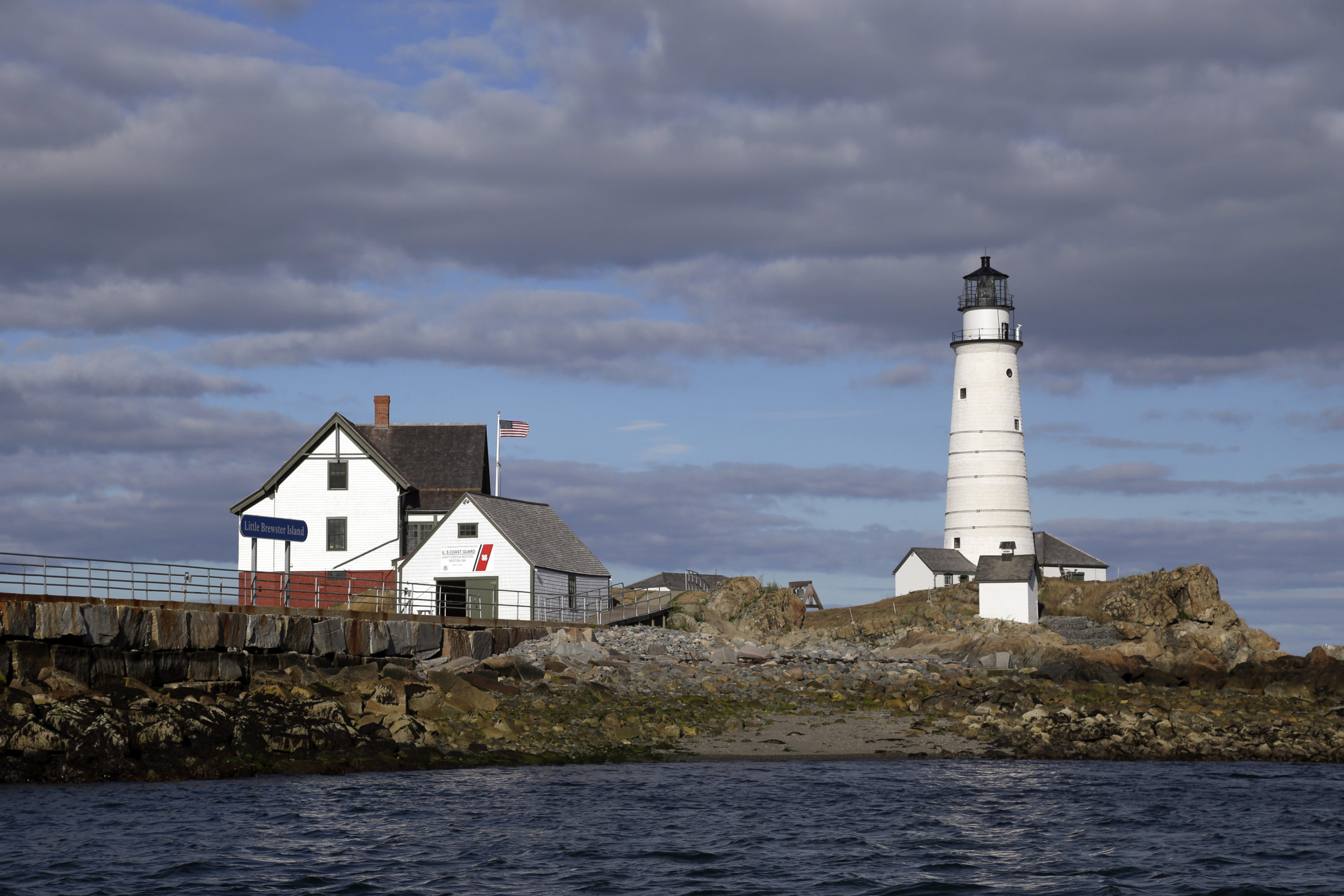 Boston Light, America's oldest lighthouse, sits on Little Brewster Island in Boston Harbor. (Elise Amendola/AP)