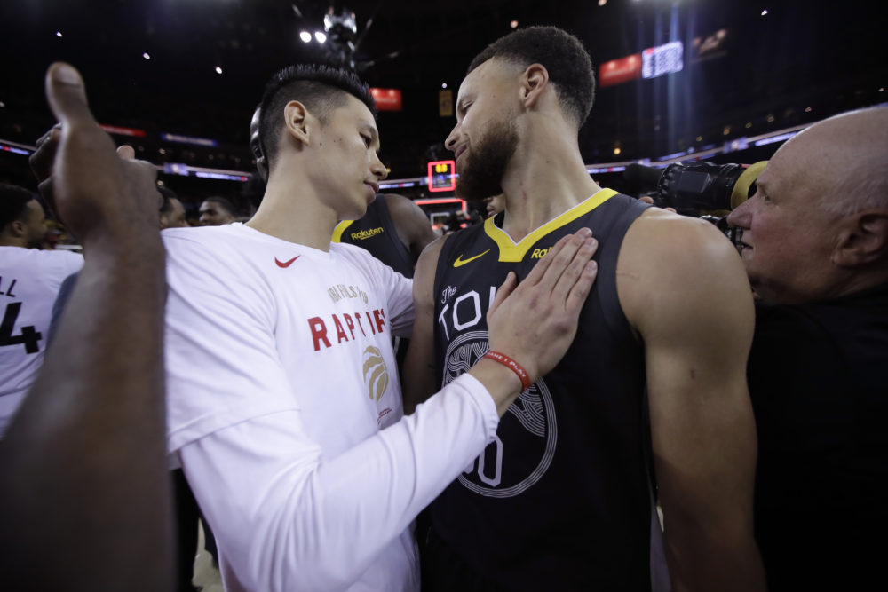 Last spring Jeremy Lin won an NBA championship with the Toronto Raptors. This spring he's trying to help fight the COVID-19 pandemic. (Ben Margot/AP)