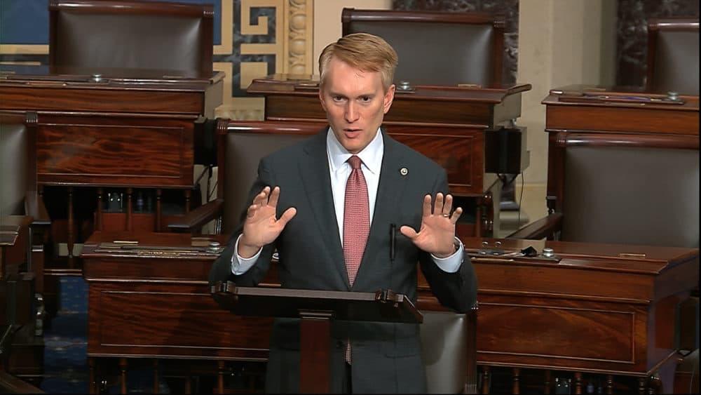 Sen. James Lankford speaks on the Senate floor about the impeachment trial against President Trump on Feb. 4, 2020. (Senate Television via AP)