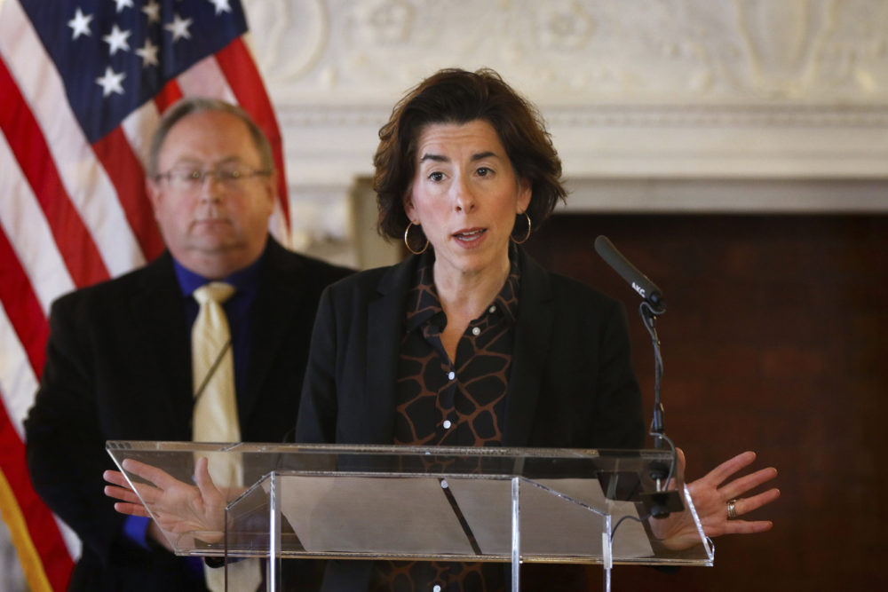 R.I. Gov. Gina Raimondo gives an update on the coronavirus during a news conference in the State Room of the Rhode Island State House in Providence, R.I. (Kris Craig/Providence Journal via AP)