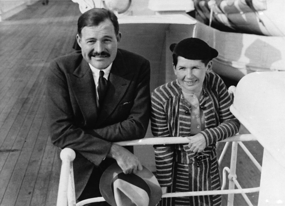 Author Ernest Hemingway and Pauline Pfeiffer are shown as they arrived in New York aboard the liner Paris, April 3, 1934. They are returning after a three-month vacation in eastern Africa hunting lions. (AP Photo)