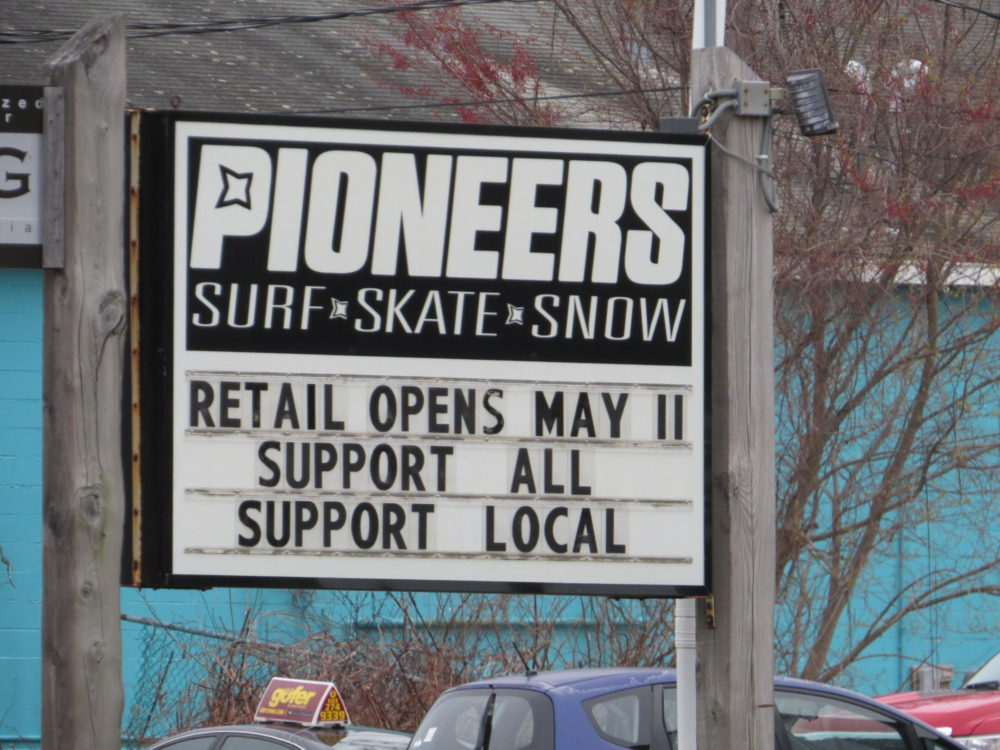 Starting Monday, March 11, retailers across New Hampshire, including Pioneers Board Shop in North Hampton, can begin letting customers inside as the state loosens restrictions related to the ongoing pandemic. (Dan Tuohy/NHPR)