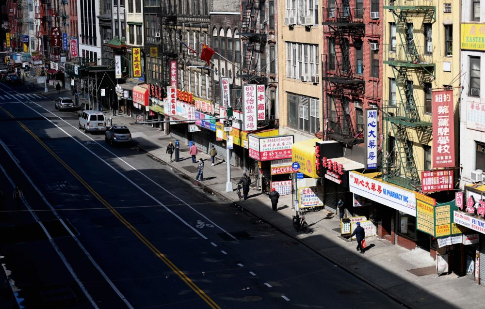 A nearly empty street is seen in Chinatown on March 24, 2020 in New York City. (Angela Weiss/AFP/Getty Images)