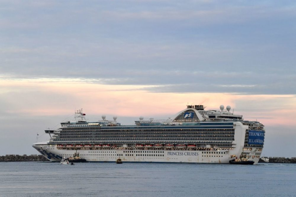 Ruby Princess cruise ship departs from Port Kembla in Australia after a few hundred virus-free crew members disembarked to begin the process of repatriation to their home countries on May 19, 2020. (Saeed Khan/AFP/Getty Images)