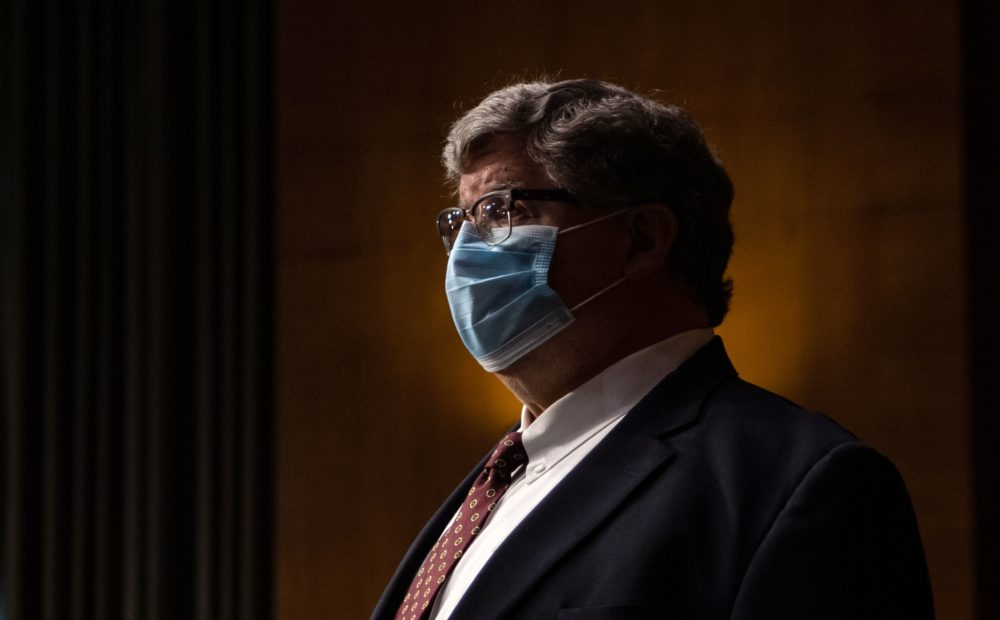 Nominee for Special Inspector General for Pandemic Recovery at the US Department of the Treasury, Brian Miller, looks on ahead of a Senate Banking, Housing, and Urban Affairs Committee nomination hearing on Capitol Hill in Washington, DC on May 5, 2020. ( Salwan Georges/ POOL/AFP via Getty Images)