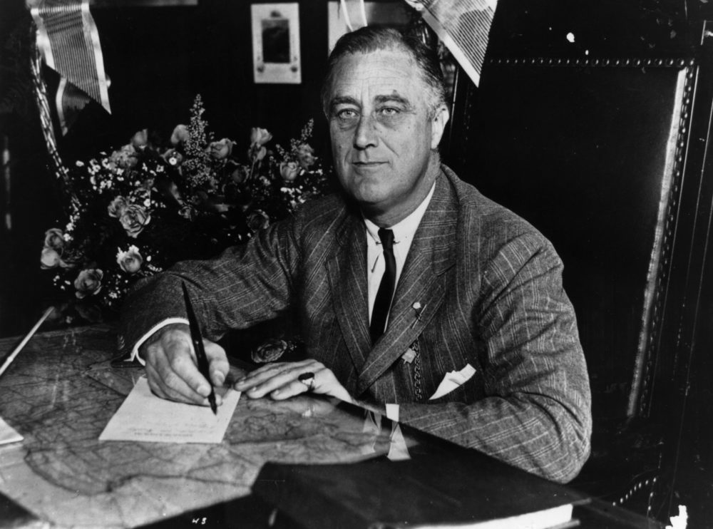 1936:  Franklin Delano Roosevelt (1882 - 1945) the 32nd President of the United States from 1933-45. A Democrat, he led his country through the depression of the 1930's and  World War II, and was elected for an unprecedented fourth term of office in 1944.  (Keystone Features/Getty Images)