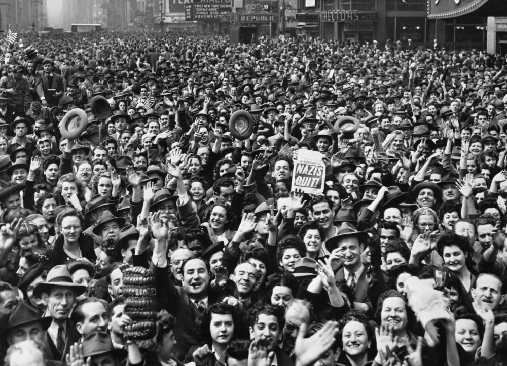 V-E Day Celebration in Times Square, New York City, May 1945. (National Archives/CORBIS/Corbis via Getty Images)