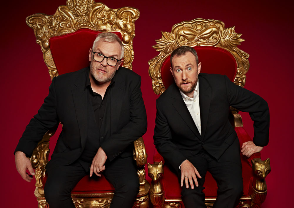 "British comedians Greg Davies (left) and Alex Horne (right) host the TV show ""Taskmaster."" (Courtesy Avalon Entertainment)"