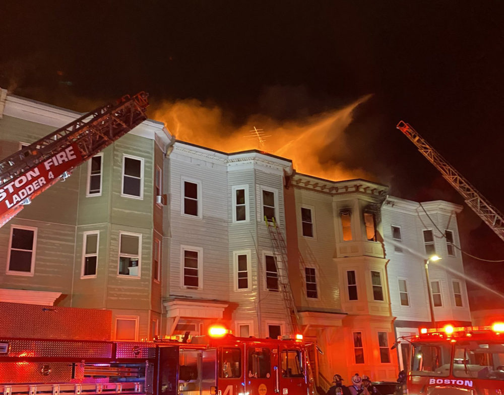 A 7-alarm fire burns early in the morning Columbia Road in South Boston, Saturday, May 30. (Photo courtesy of the Boston Fire Department)