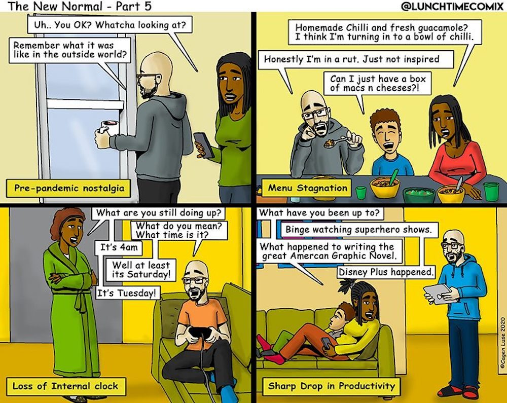 """Part 5 of Cagen Luse's comic strip series """"The New Normal."""" (Courtesy Cagen Luse)"""