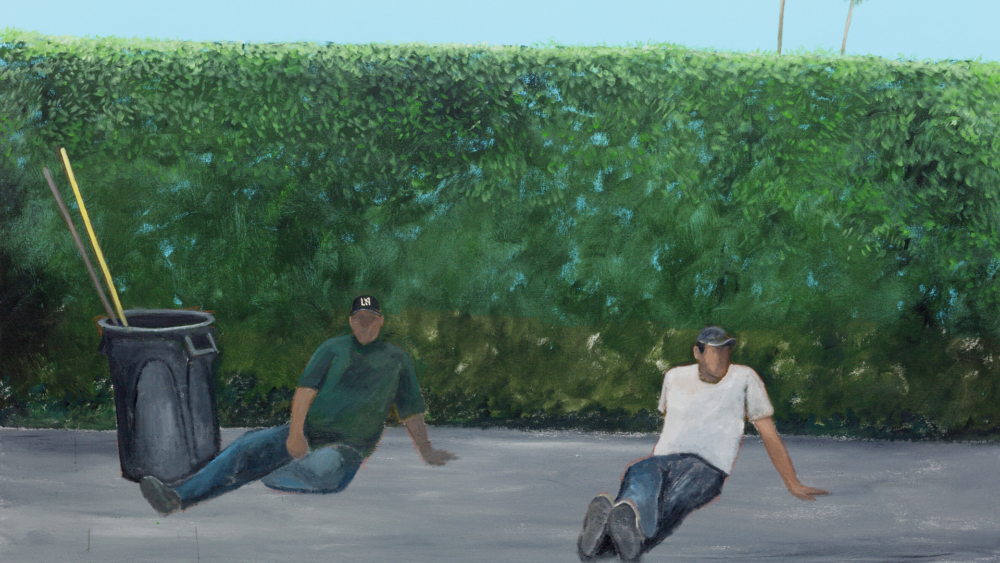 """Ramiro Gomez's """"Resting,"""" 2019. (Courtesy of the artist, P·P·O·W, New York, Charlie James Gallery, Los Angeles and the Museum of Fine Arts, Boston)"""