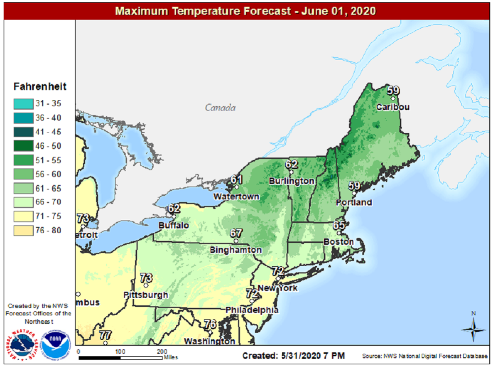 Cool weather today has highs mainly in the 60s. (Courtesy NOAA)