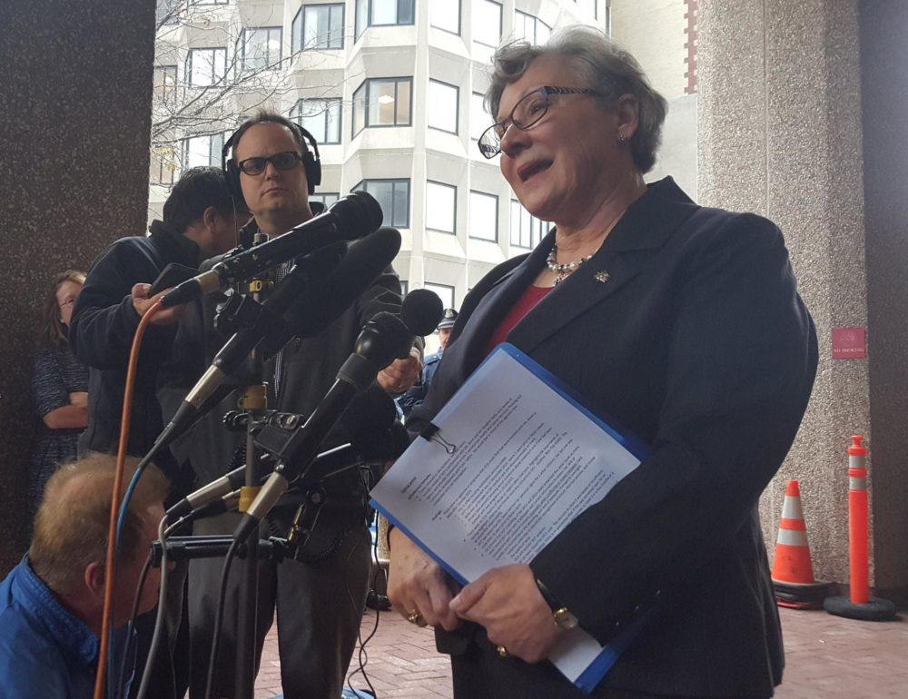 Maria Mossaides, at right, is the Massachusetts Child Advocate. (Photo by MassLive via NEPR/file)