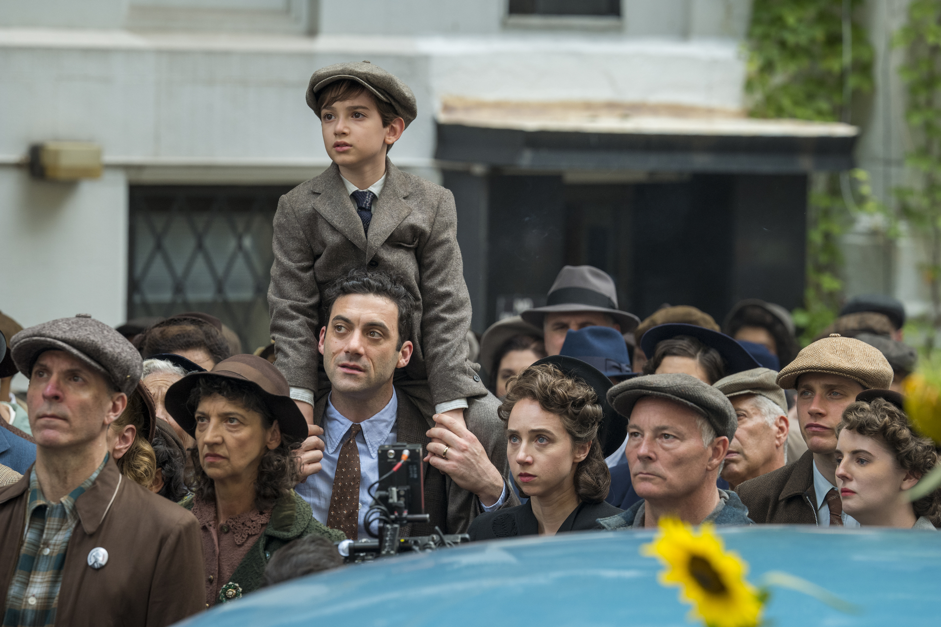 "Morgan Spector, Azhy Robertson and Zoe Kazan (center) in ""The Plot Against America."" (Courtesy HBO)"