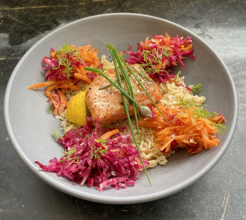 Leftover salmon bowl by Kathy Gunst (Courtesy)