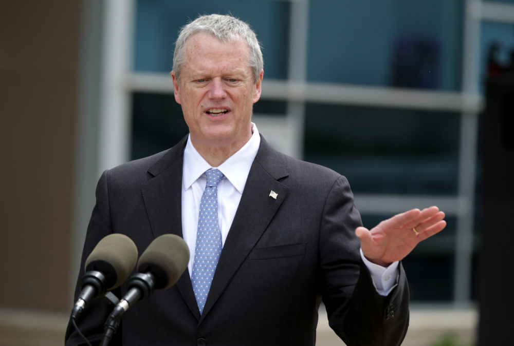 Gov. Charlie Baker spoke with the media after he swore in the Massachusetts State Police 85th Recruit Training Troop, at their graduation ceremony at Gillette Stadium. (Jonathan Wiggs/Boston Globe)
