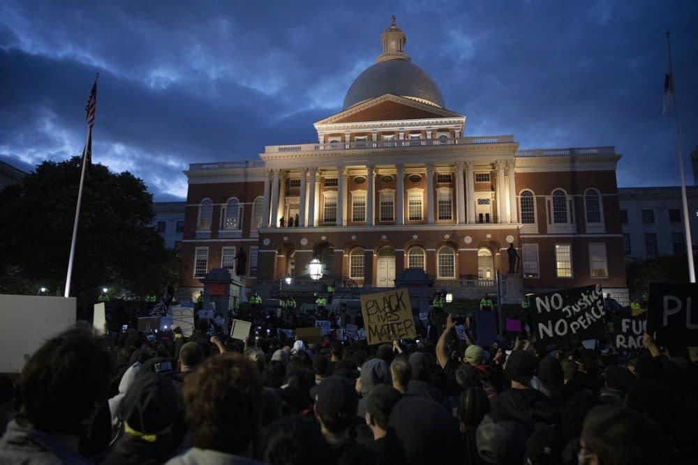 Black Lives Matter protesters outside the State House. (Robin Lubbock/WBUR)