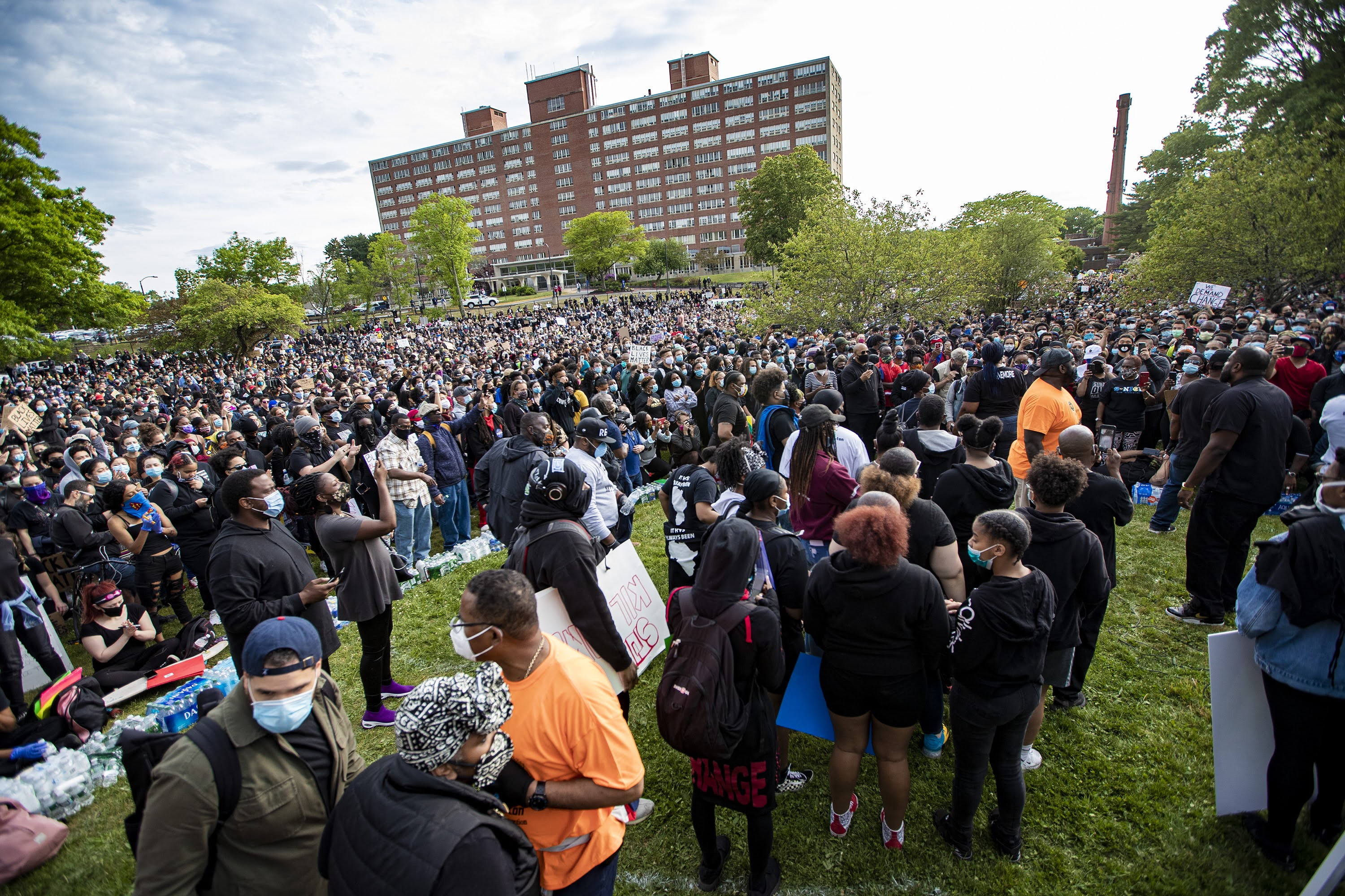 Thousands of protesters gathered in the Shattuck Picnic Grove in Franklin Park during the vigil. (Jesse Costa/WBUR)