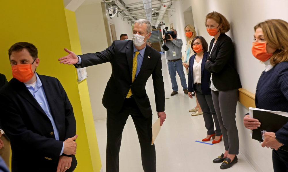 Gov. Charlie Baker gave his Friday afternoon news conference after touring Cambridge's LabCentral, a launchpad for biotech and life sciences startups. (Matt Stone/Boston Herald/Pool)