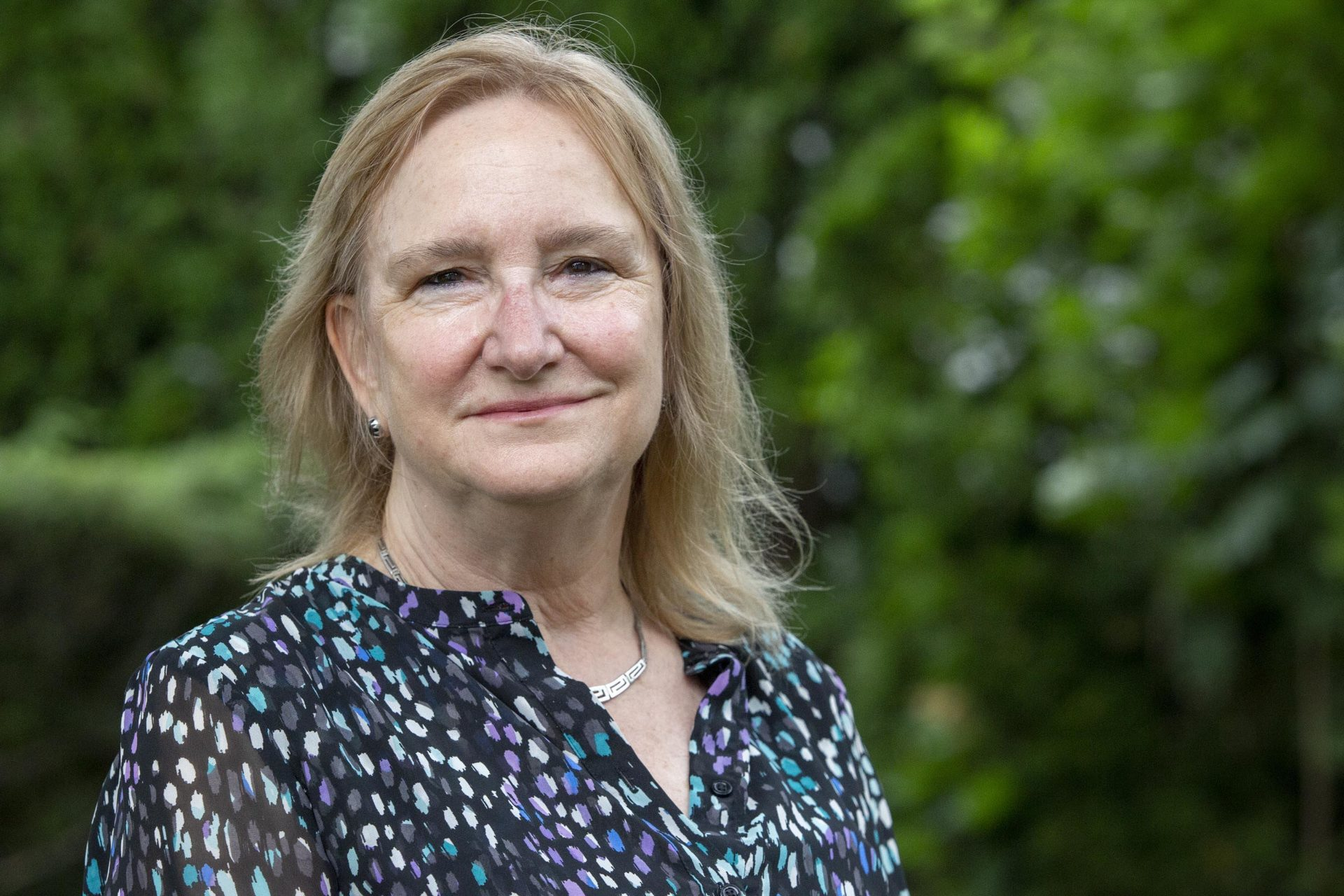 Susan Almono of Massachusetts Interfaith Power and Light. (Robin Lubbock/WBUR)
