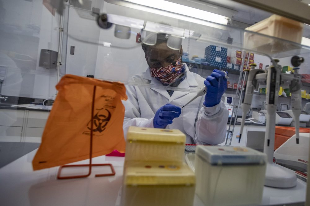 Sherlock Biosciences Research Associate Joel Mowatt in the lab. The Cambridge, Mass. company develops coronavirus tests using CRISPR and synthetic biology. (Jesse Costa/WBUR)