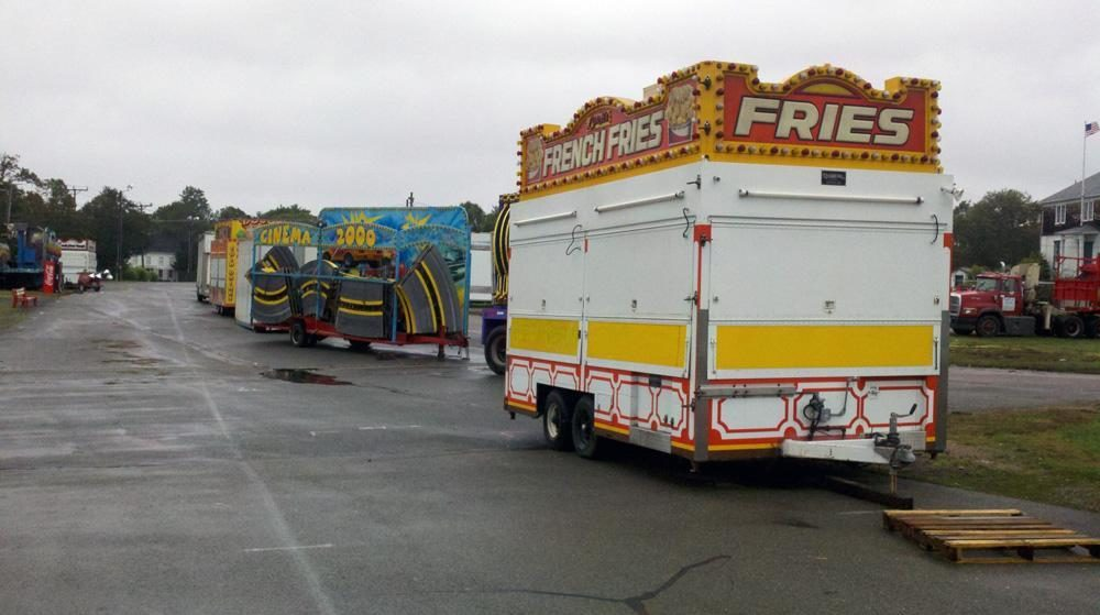 Rides and attractions at the Marshfield Fair packed up after the last day of the fair in 2011. (Jesse Costa/WBUR)